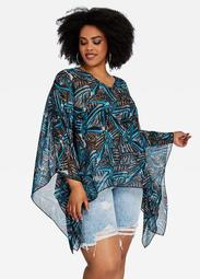 Abstract Boho Print Poncho