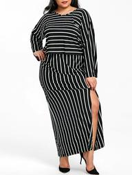 V Neck Striped Top and Slit Skirt Plus Size Suit