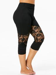 Plus Size Lace Insert Cropped Leggings