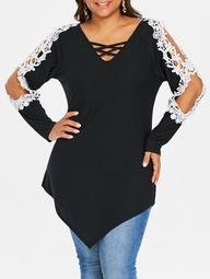 ROSEGAL Plus Size Lace Applique Criss Cross Top