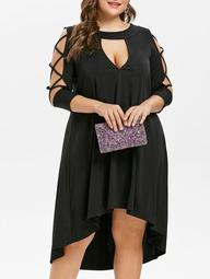 Criss Cross Sleeve Plus Size Cut Out Mid Calf Dress