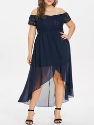 Front Slit Lace Insert Plus Size High Low Dress