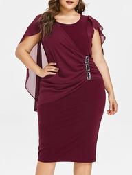 Plus Size Rhinestone Embellished Capelet Dress