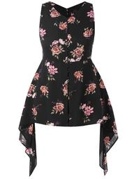 Plus Size Floral Print Asymmetric Top