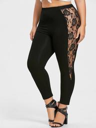 Plus Size Lace Trim Ankle Leggings