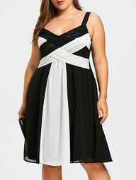 Plus Size Two Tone Criss Cross Dress