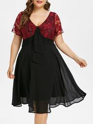 Plus Size Lace Trim Two Tone Flare Dress