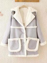 Fleece Trim Spliced Chamois Coat