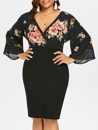 Plus Size Print Surplice Bodycon Dress