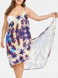 Coconut Tree Print Plus Size Beach Dress