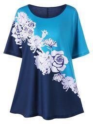 Plus Size Floral Color Block T-shirt