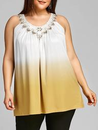 Plus Size Ombre Color Swing Tank Top