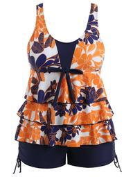 Plus Size Floral Tiered Tankini Set