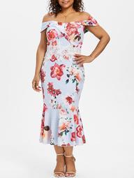 Plus Size Lace Trim Baring Shoulder Fishtail Dress