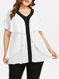 Plus Size Two Tone Layered Ruffle T-shirt