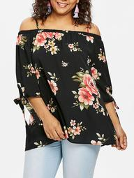 ROSEGAL Plus Size Cold Shoulder Tie Cuff Blouse