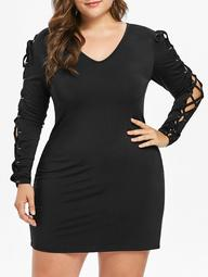 Lace Up Sleeve Plus Size Bodycon Dress