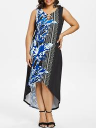 Plus Size Graphic High Low Hem Maxi Dress