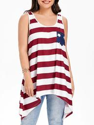 Patriotic American Flag Pocket Plus Size Tank Top