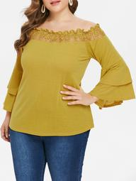 Plus Size Tiered Sleeve Off Shoulder Blouse