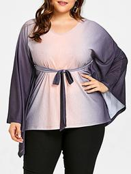 Plus Size Ombre Color Batwing Sleeve Belted Top