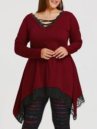 Lace Trim Plus Size Tunic Sharkbite T-shirt
