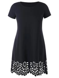 Openwork Scalloped Hem Plus Size Tee Dress