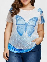 Layered Butterfly Print Plus Size Casual Tee