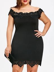 Lace Trim Off Shoulder Plus Size Bodycon Dress