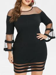 Plus Size Mesh Insert Bodycon Dress