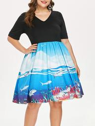 Plus Size Shark Print Tea Length Dress