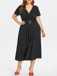 Plunging Neck Plus Size Asymmetrical Dress