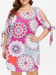 Plus Size Self Tie Sleeve Ethnic Print Dress