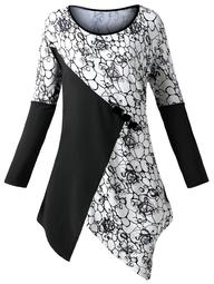 Plus Size Color Block Floral Asymmetric Top