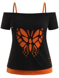 Plus Size Butterfly Distressed T-shirt and Camisole