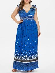 Plus Size Polka Dot Maxi Dress