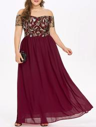 ROSEGAL Off The Shoulder Plus Size Embroidery Maxi Dress