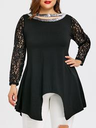 Plus Size Cutout Sequin Asymmetric T-shirt