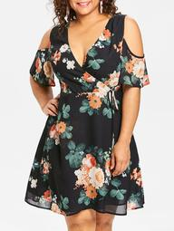 Plus Size Floral Cold Shoulder Deep Surplice Dress