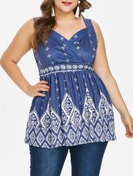 Plus Size Ethnic Print Sleeveless Top