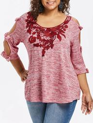Plus Size Bowknot Cut Marled T-shirt
