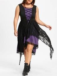 Plus Size Lace Up Sleeveless Handkerchief Dress