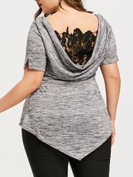 Plus Size Lace Trim Criss Cross Cowl T-shirt