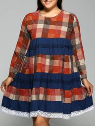 Plus Size Long Sleeve Plaid Dress