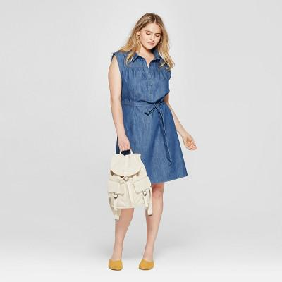 Universal Thread Womens Plus Size Denim Belted Shirt Dress