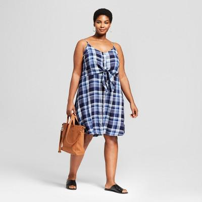 Women\'s Plus Size Tie Front Plaid Dress Universal Thread™ Navy