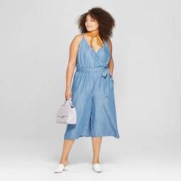Women's Plus Size Tencel Wrap Front Jumpsuit - A New Day™ Blue