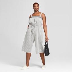 Women's Plus Size Striped Smocked Jumpsuit - Universal Thread™ Black