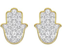 Hamsa Hand Pierced Earrings, White, Gold plating