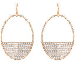 Ginger Pierced Earrings, White, Rose gold plating